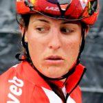 Lucinda Brand. Uitgeput na een zware Omloop Het Nieuwsblad